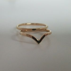 Jewelry - Set of 2 chevron stack midi rings gold filled